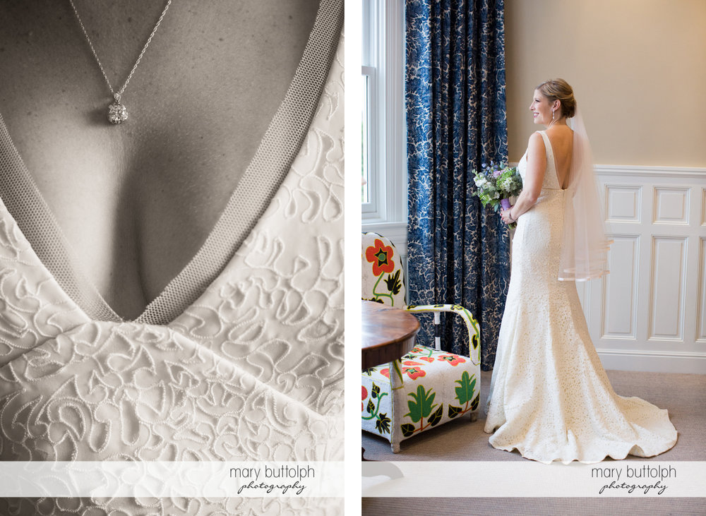 Close up shot of the bride's necklace and another showing her standing in front of a window at Rowland House Wedding