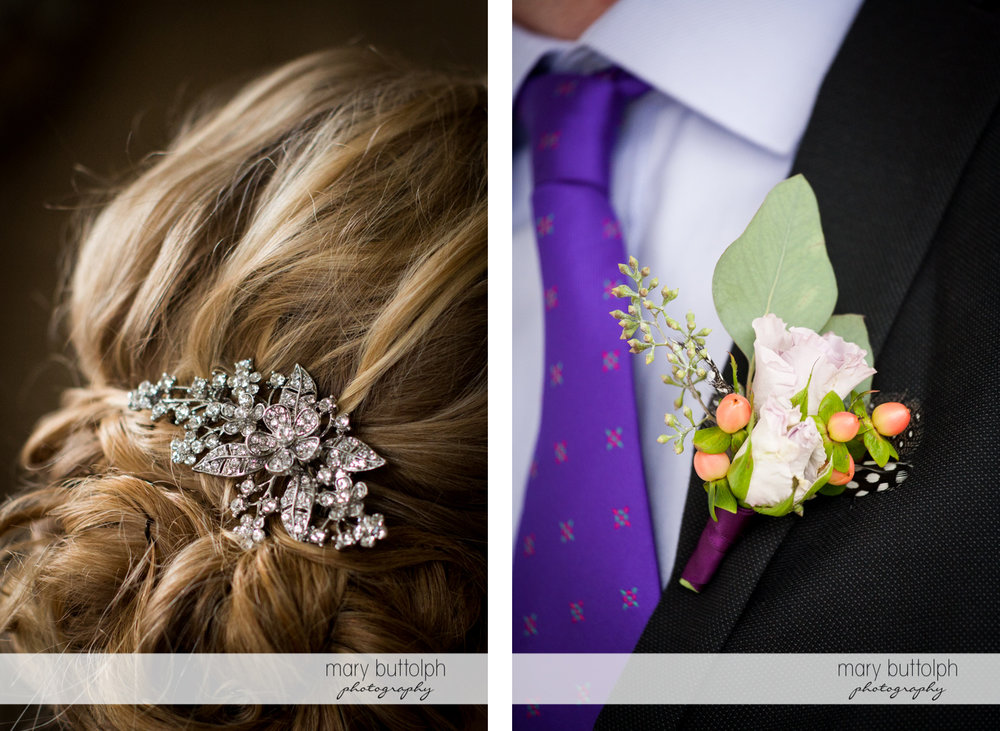 Close up shot of the bride's hairpin and the groom's boutonniere at Rowland House Wedding