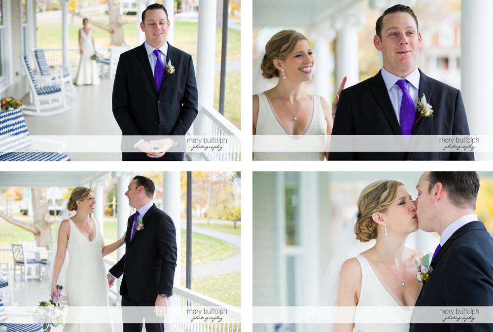 Couple in different shots on the porch at Rowland House Wedding