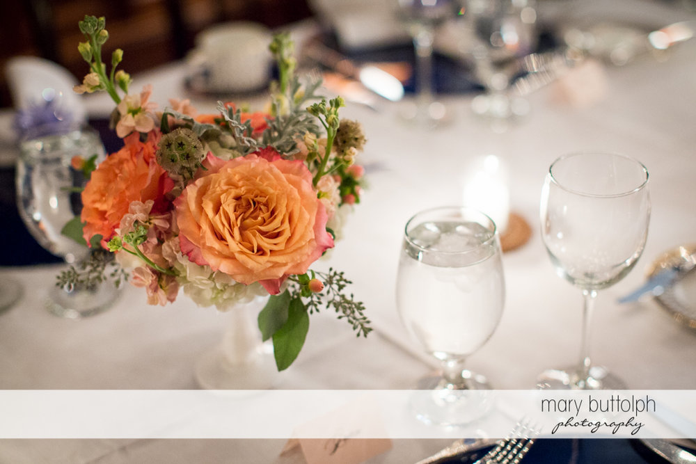 Close up shot of a bouquet in one of the tables at the wedding venue at Rowland House Wedding