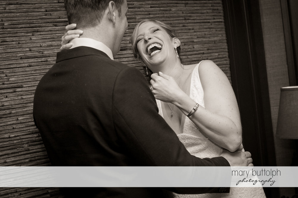 Couple in good spirits at Rowland House Wedding