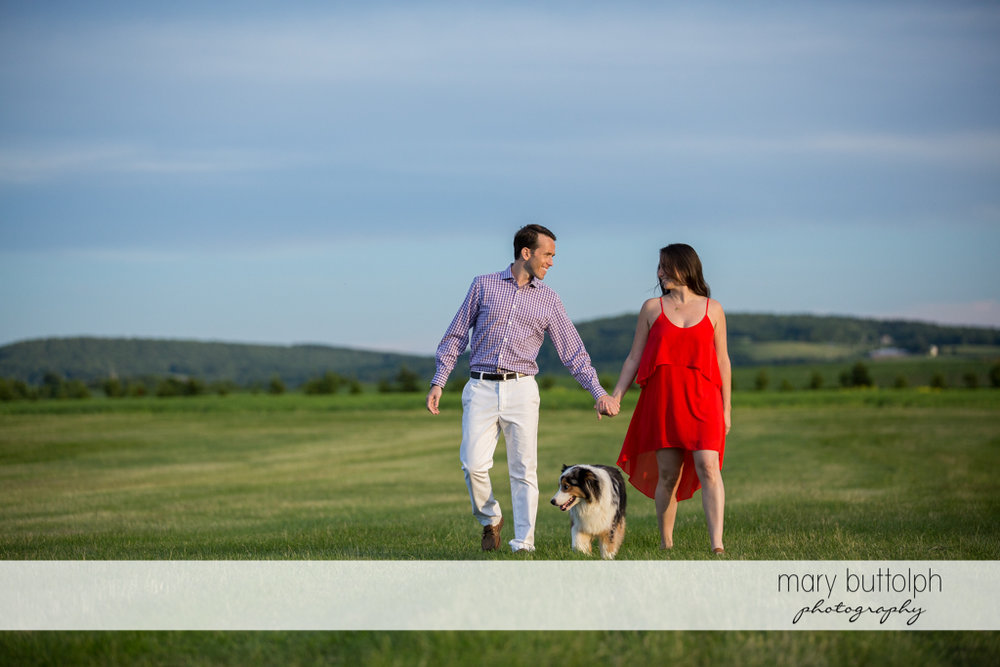 Couple stroll in the garden with their pet dog at Cazenovia Engagement