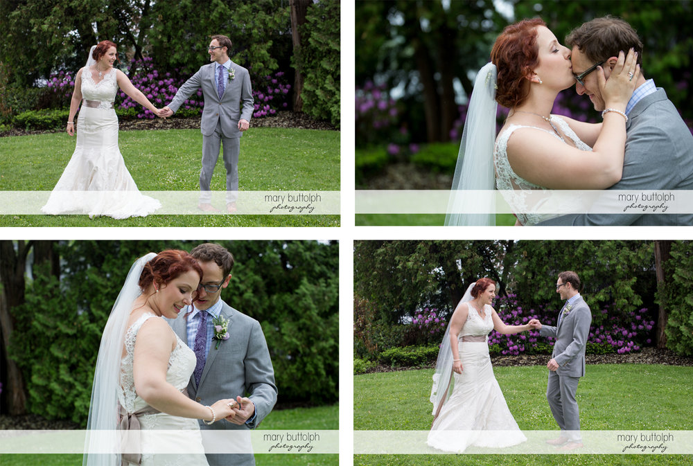 Four different shots of the couple in the garden at Frog Pond Bed & Breakfast Wedding