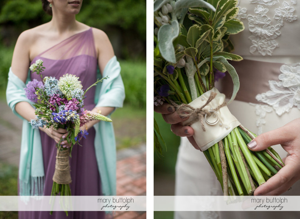 One of the bridesmaids holding a bouquet at Frog Pond Bed & Breakfast Wedding