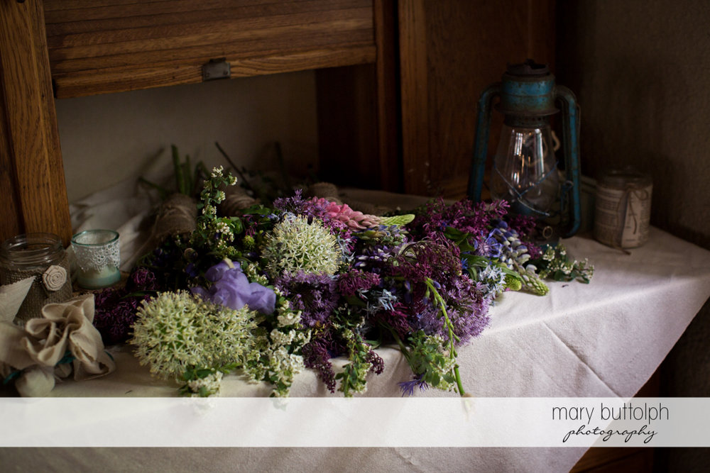 A bunch of flowers on the table at Frog Pond Bed & Breakfast Wedding
