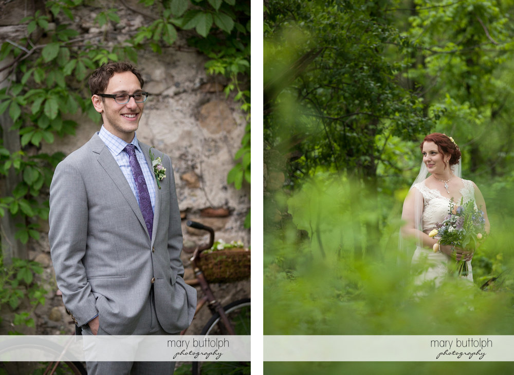 Solo shots of the groom and bride at Frog Pond Bed & Breakfast Wedding