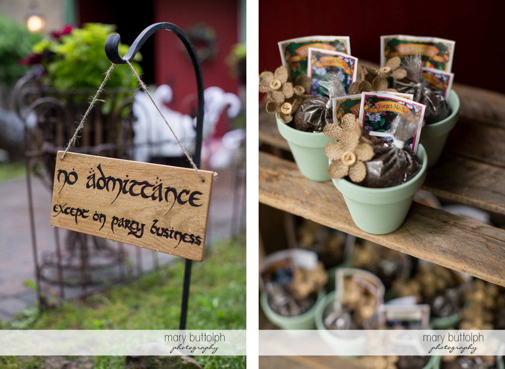 Hanging sign and tokens for guests at Frog Pond Bed & Breakfast Wedding