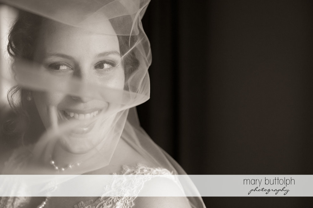 Happy bride in black and white shot at Frog Pond Bed & Breakfast Wedding