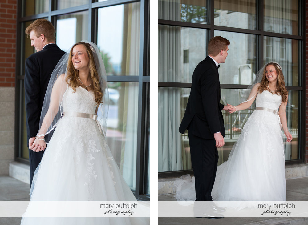 Two different shots of the happy couple at the Lodge at Welch Allyn Wedding