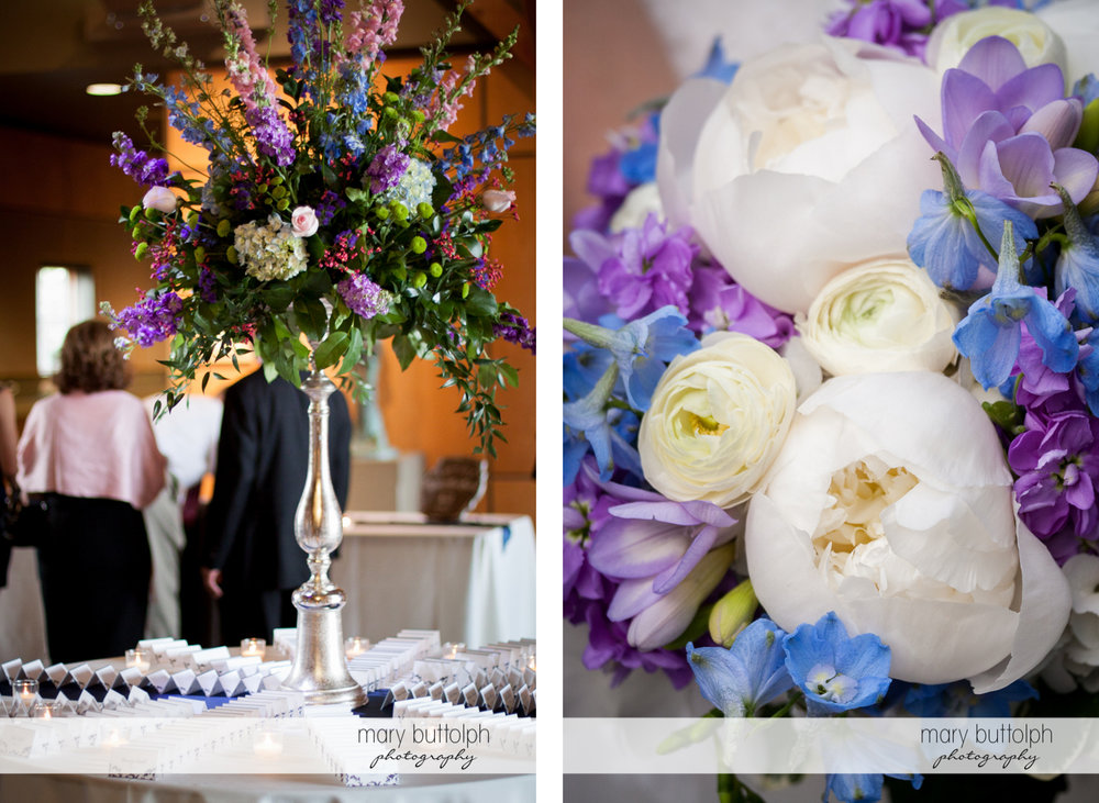 Flowers add color to the wedding venue at the Lodge at Welch Allyn Wedding
