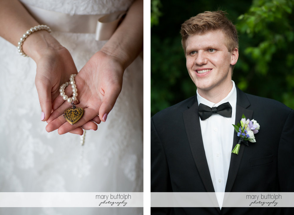 Bride shows her locket and close up shot of groom at the Lodge at Welch Allyn Wedding