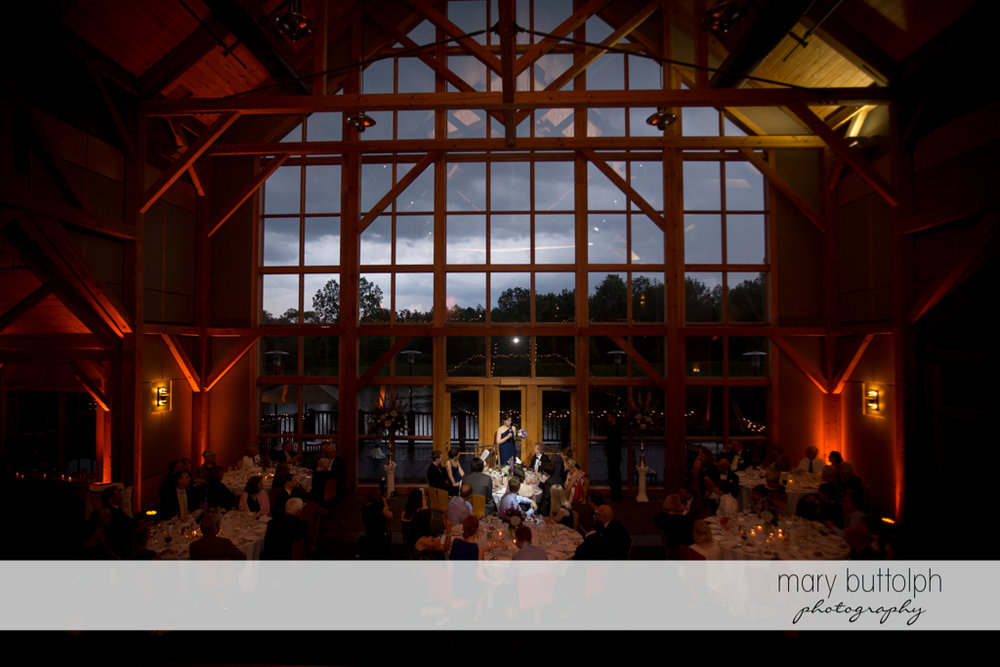Guests fill the wedding venue at the Lodge at Welch Allyn Wedding