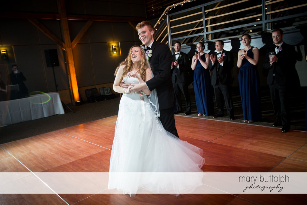 Couple at the wedding venue at the Lodge at Welch Allyn Wedding