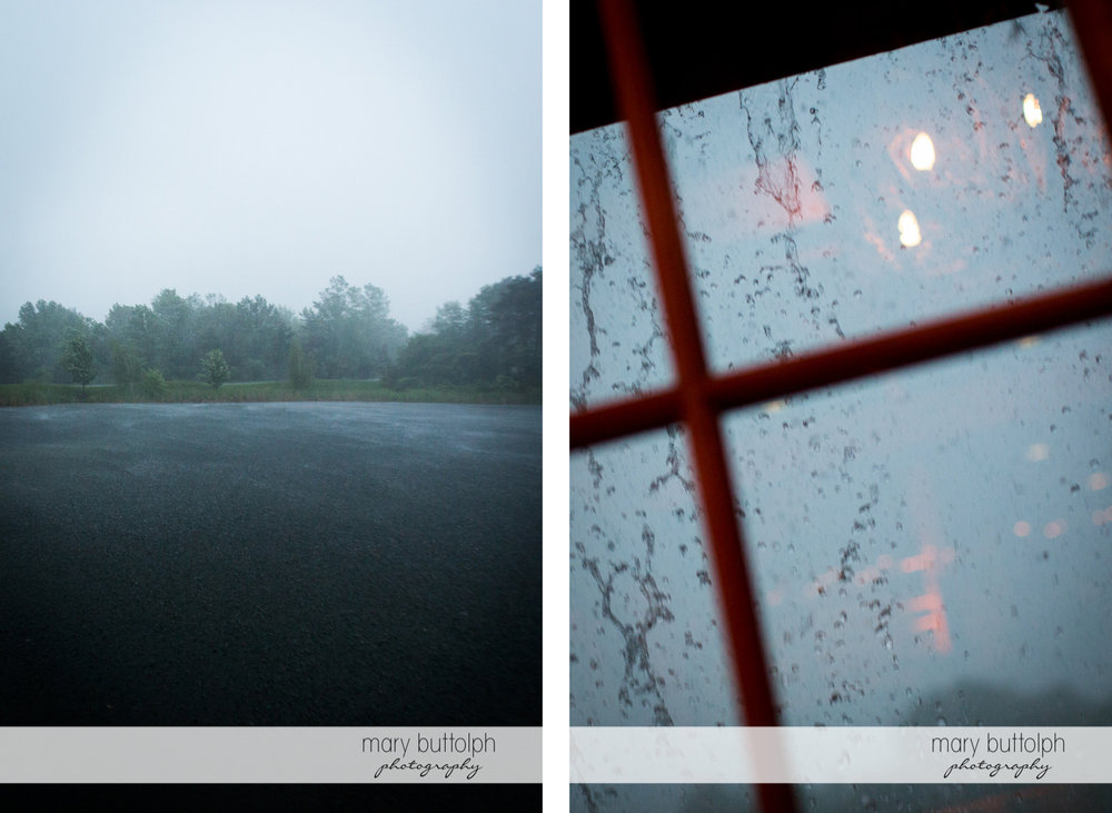 Rain falls on the lake and on the window at the Lodge at Welch Allyn Wedding