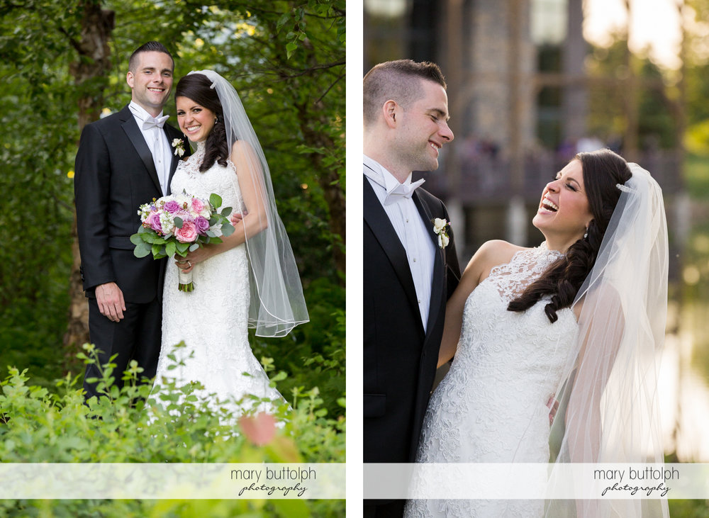 Two different shots of the happy couple in the garden at the Lodge at Welch Allyn Wedding