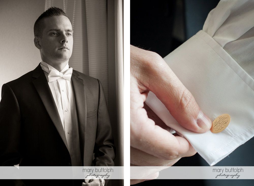 Groom adjusts one his cufflinks at the Lodge at Welch Allyn Wedding