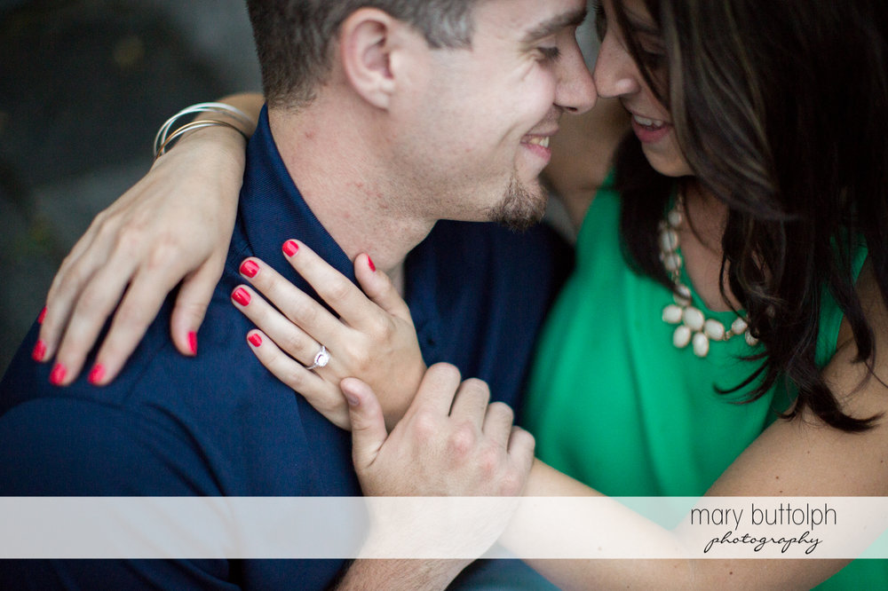 Couple rub noses to show their affection at Skaneateles Engagement