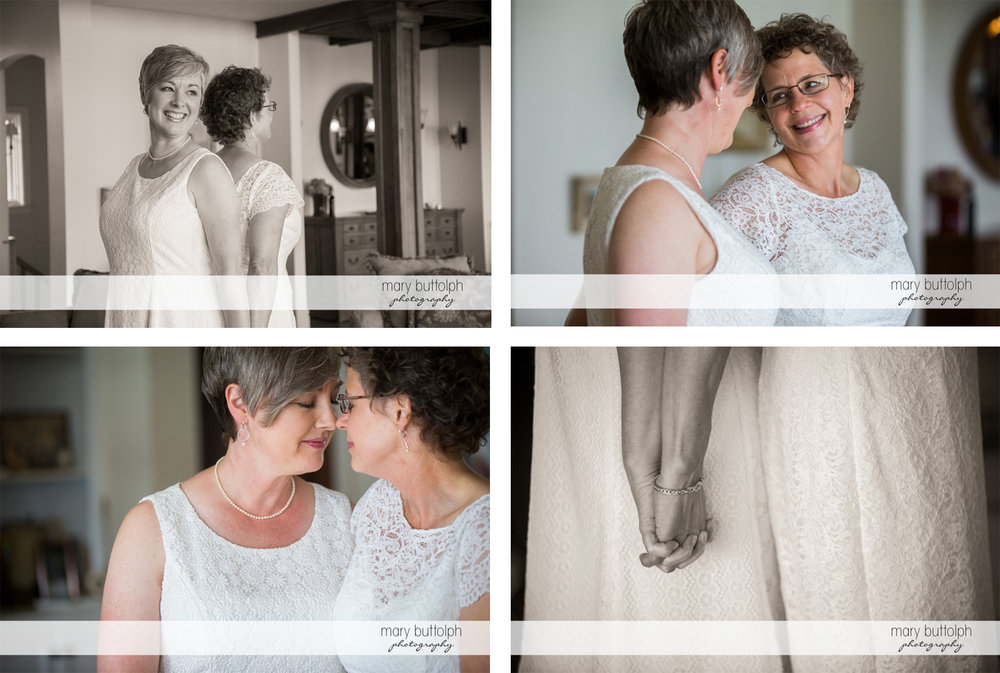 Four different shots of the same sex couple at Mandana Barn Wedding