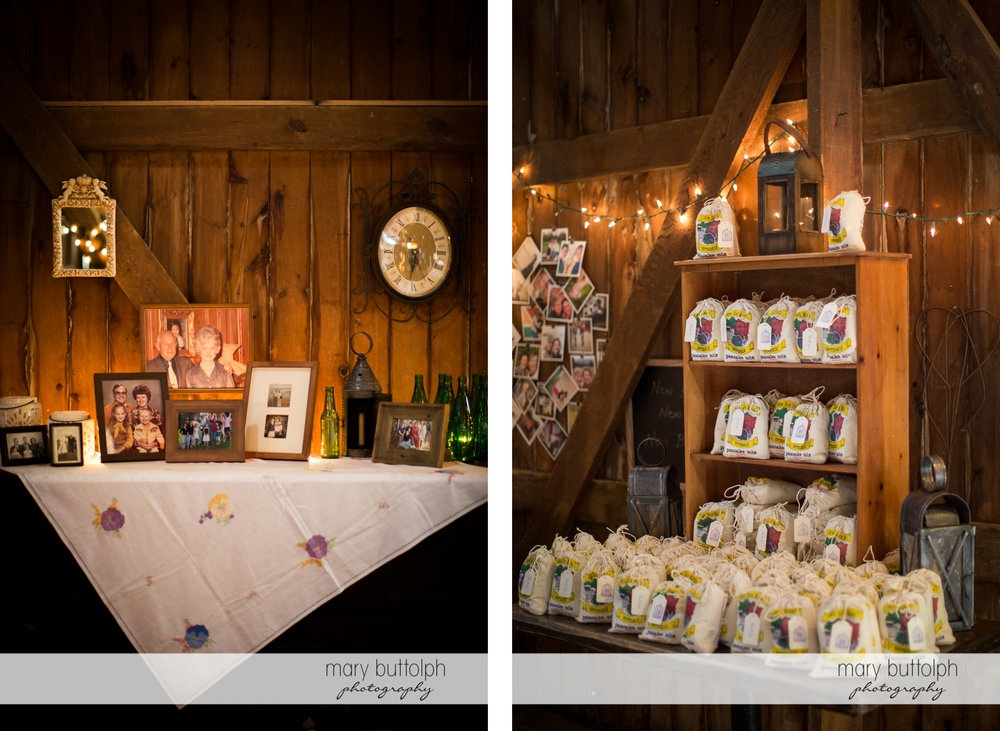 Old photos of the couple and giveaways at the wedding venue at Mandana Barn Wedding