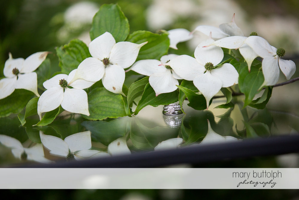 Bride's wedding ring is partly covered by flowers at the Inns of Aurora Wedding