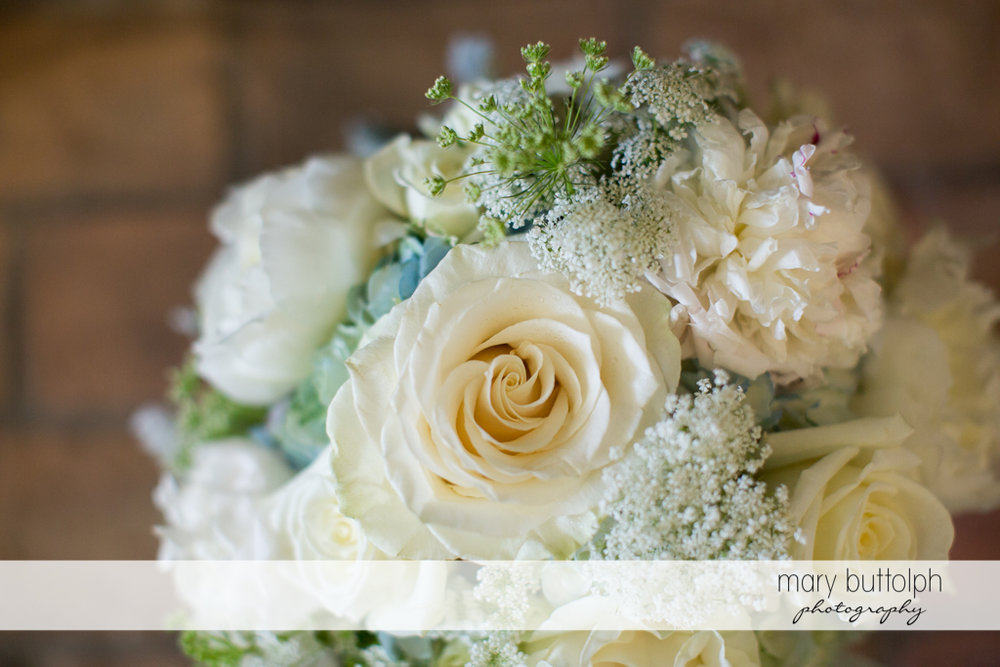 Close up shot of the lovely bouquet at the Inns of Aurora Wedding