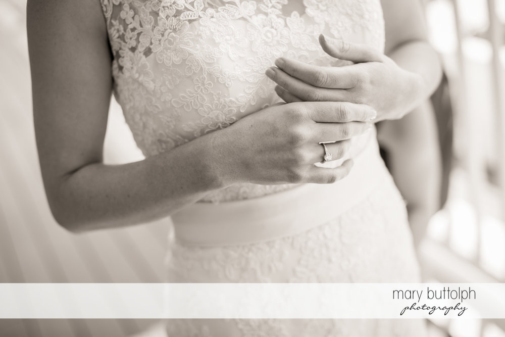 Midsection shot of the bride at the Inns of Aurora Wedding