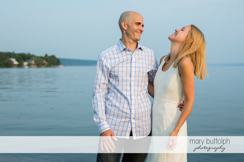 Couple spend time by the lake at Aurora Engagement