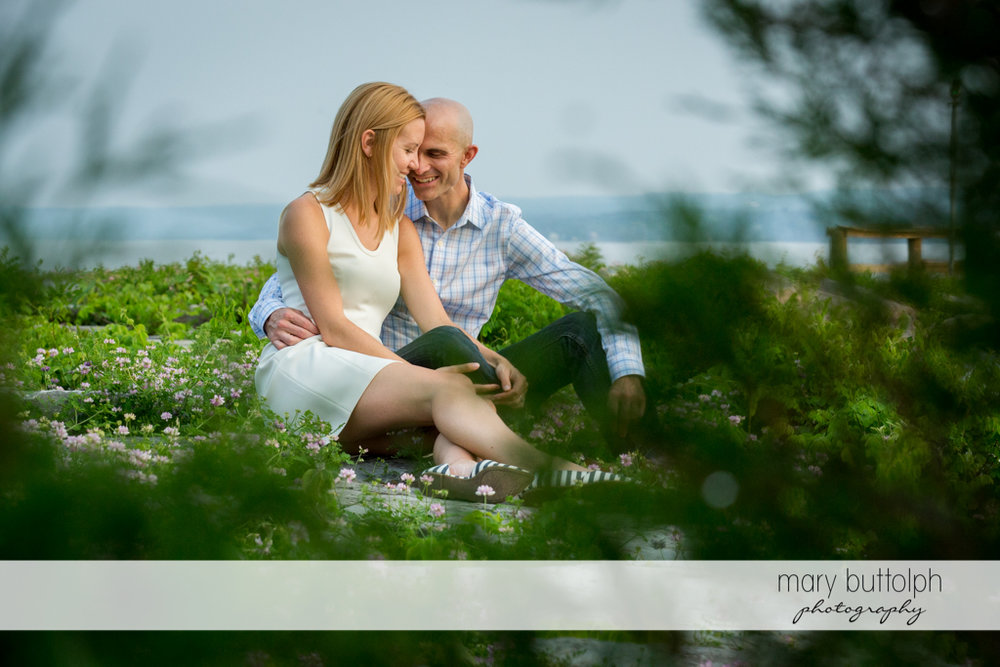Couple treasure moments together in the park at Aurora Engagement