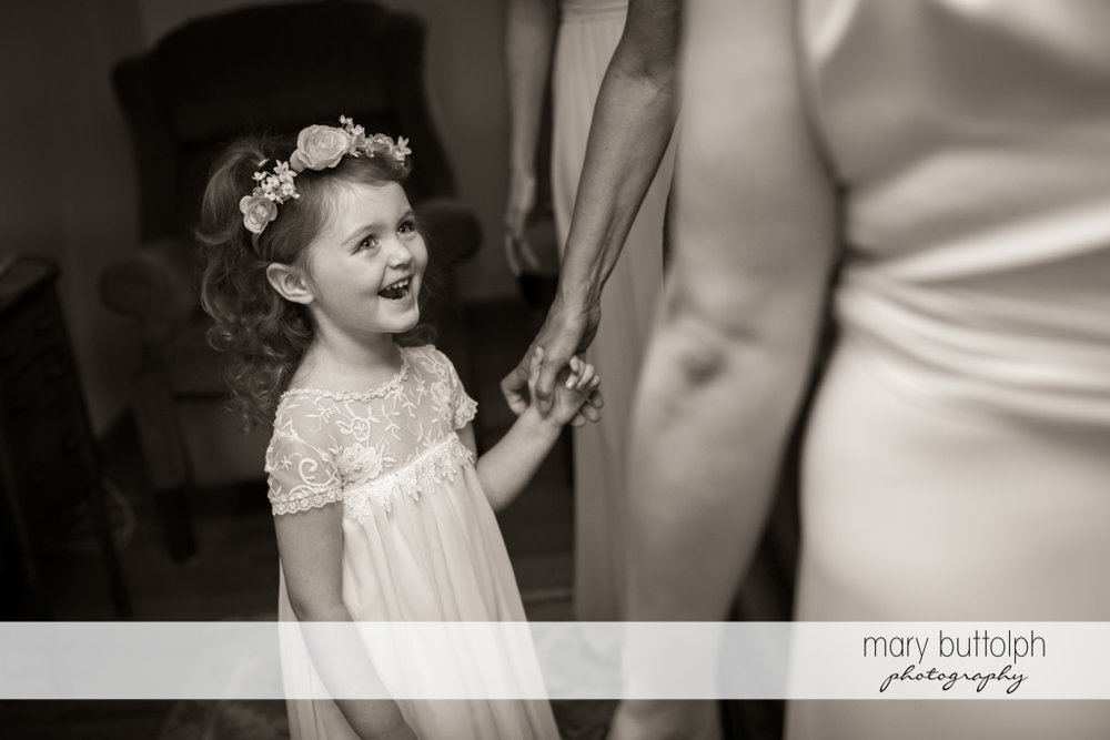 Smiling flower girl is excited about the wedding at Emerson Park Pavilion Wedding