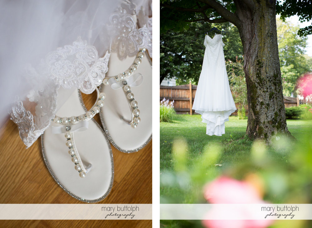 Close up shot of bride's wedding shoes and wedding dress hanging from a tree at Emerson Park Pavilion Wedding