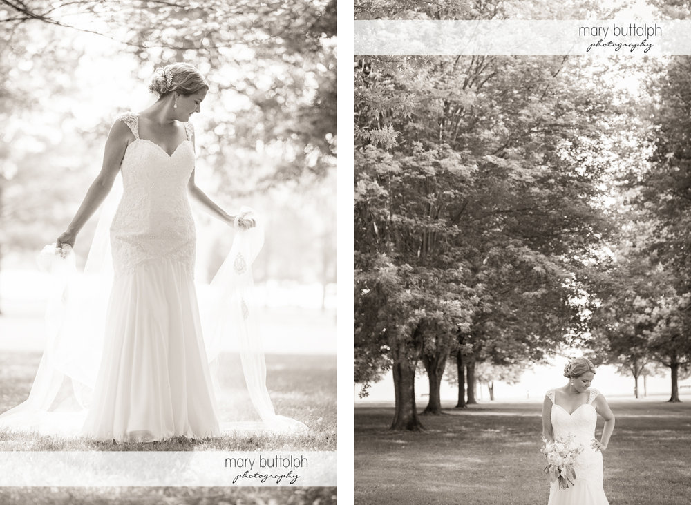 Dramatic black and white shots of the bride in the woods at Emerson Park Pavilion Wedding
