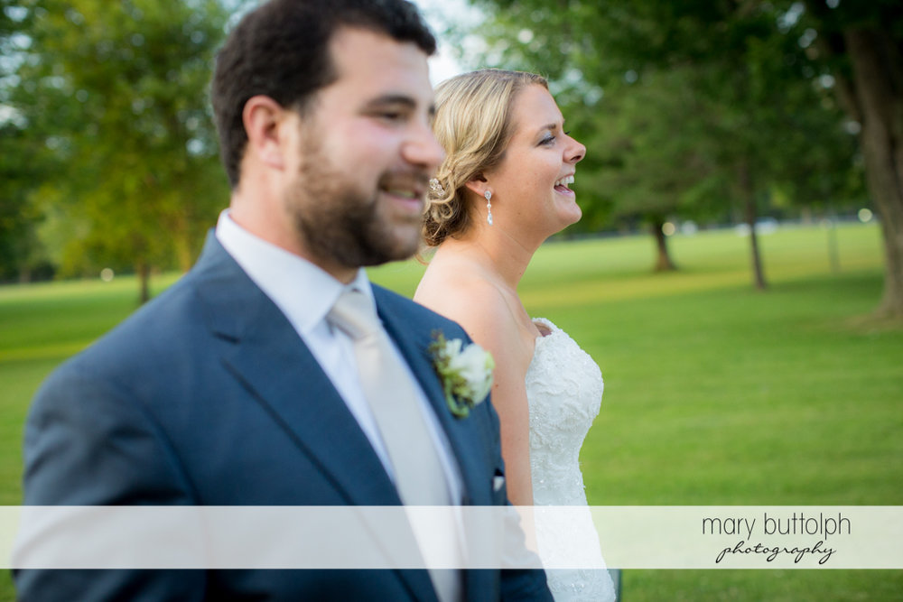 Couple stand side by side in the garden at Emerson Park Pavilion Wedding