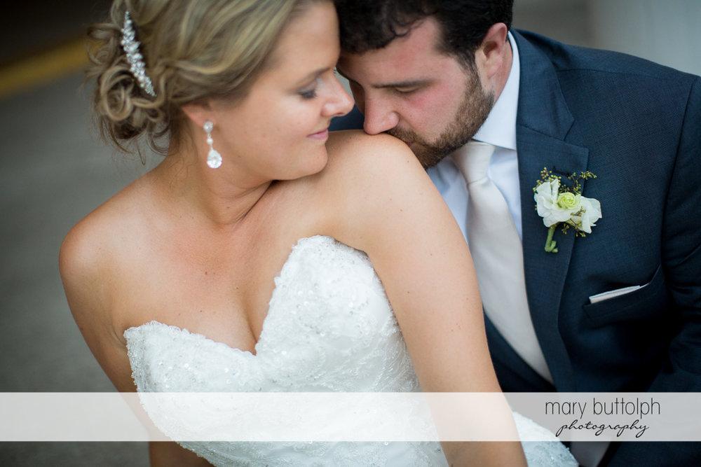 Couple share a romantic moment at Emerson Park Pavilion Wedding