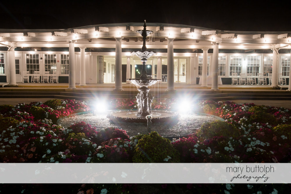 Front view of the wedding venue and the fountain at Emerson Park Pavilion Wedding