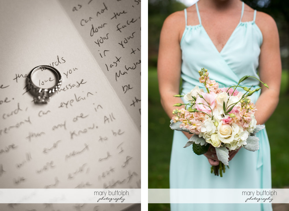 Bride's wedding ring in her diary and one of the bridesmaids with a bouquet at Emerson Park Pavilion Wedding