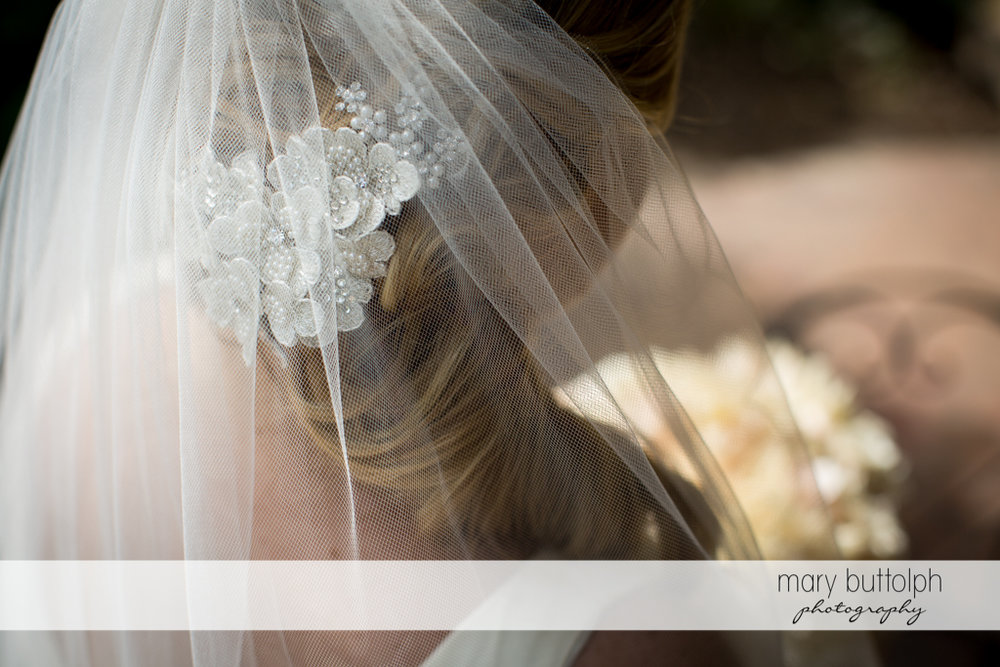Close up shot of bride's hairpin at Emerson Park Pavilion Wedding