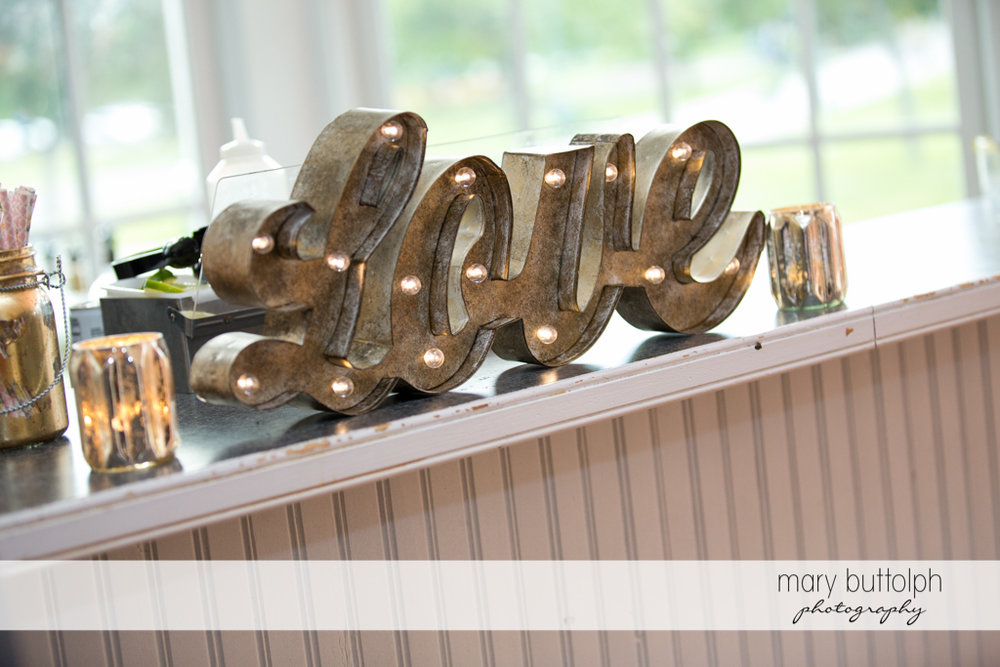 Love sign at the buffet table at Emerson Park Pavilion Wedding