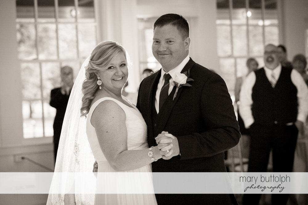 Black and white shot of the happy couple at Emerson Park Pavilion Wedding