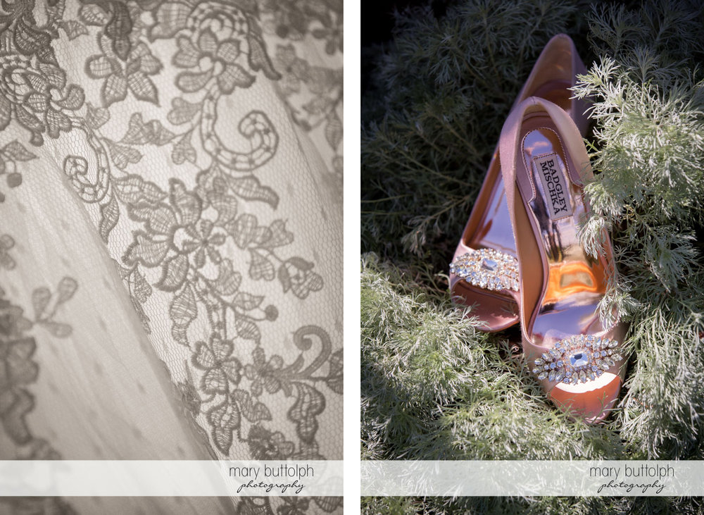 Close up shots of bride's wedding gown and wedding shoes at Skaneateles Country Club Wedding
