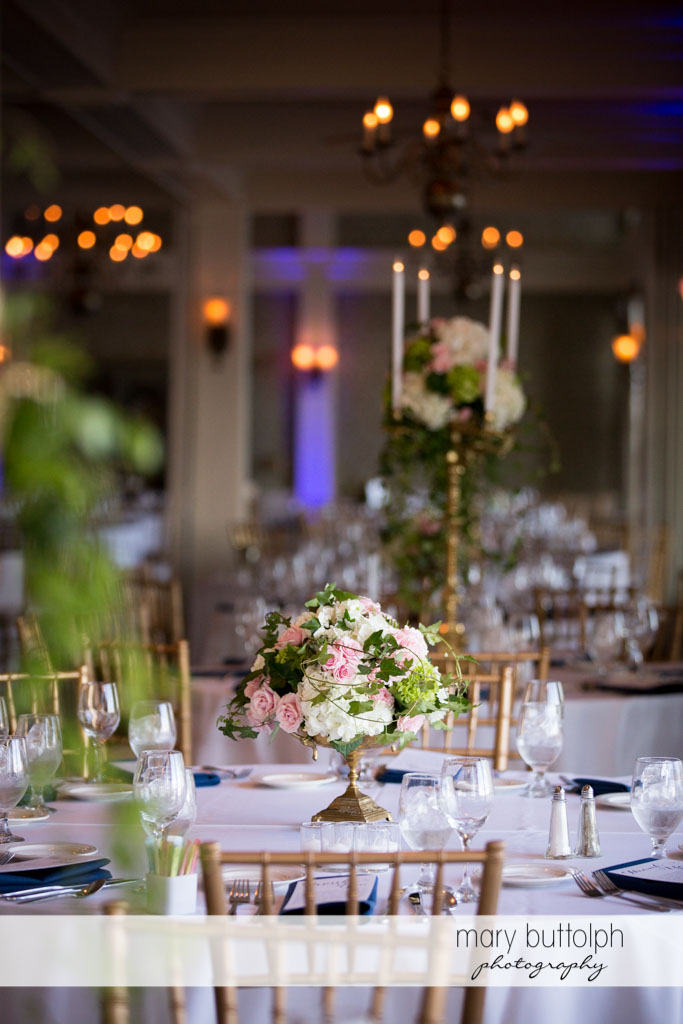 Colorful flowers decorate the tables at Skaneateles Country Club Wedding