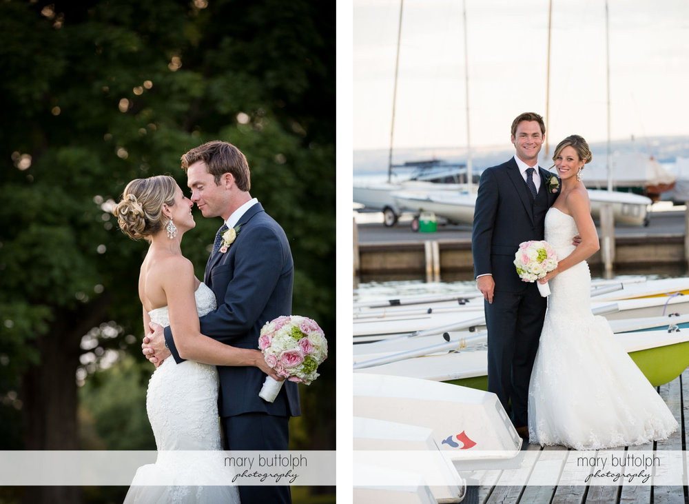 Couple rub noses in the garden and visit the docks at Skaneateles Country Club Wedding