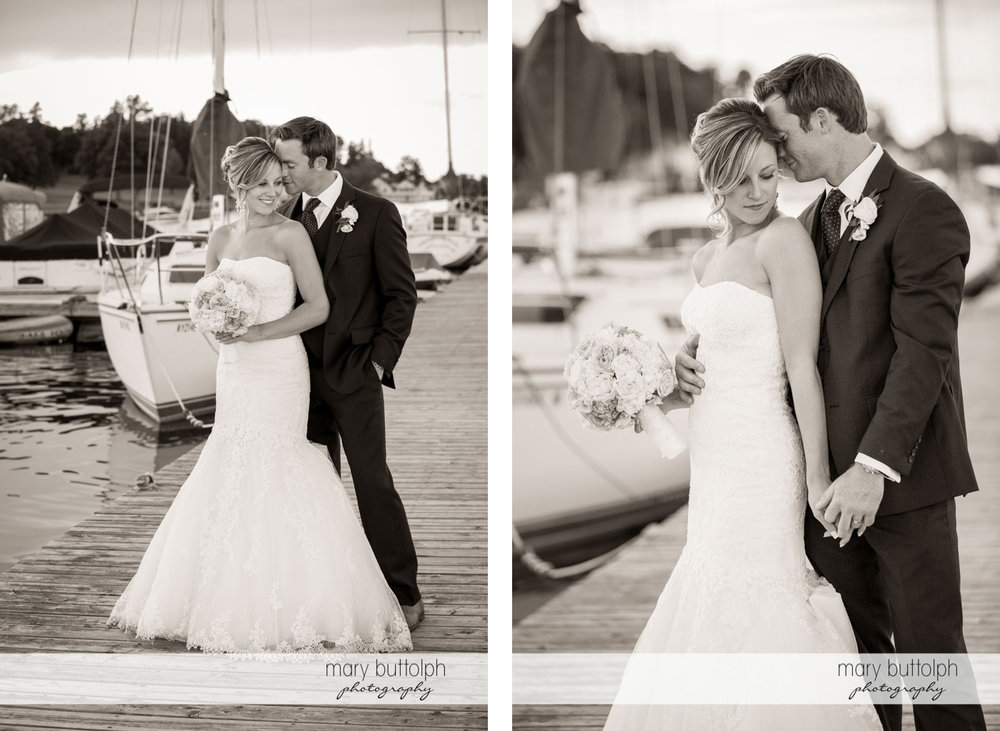 More shots of the happy couple on the docks at Skaneateles Country Club Wedding