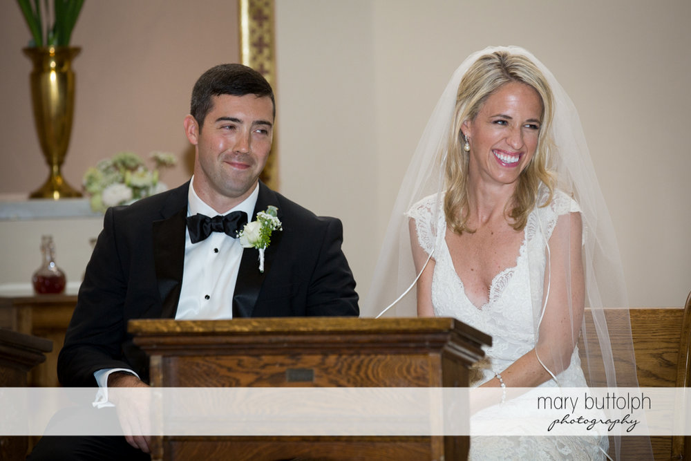 The couple at the pulpit at Skaneateles Country Club Wedding
