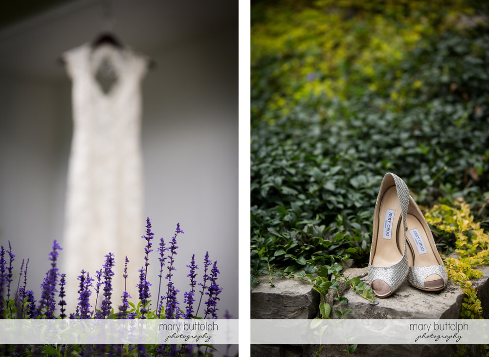 Bride's wedding dress in front of lavender plants and her shoes on top of stone bricks at Skaneateles Country Club Wedding