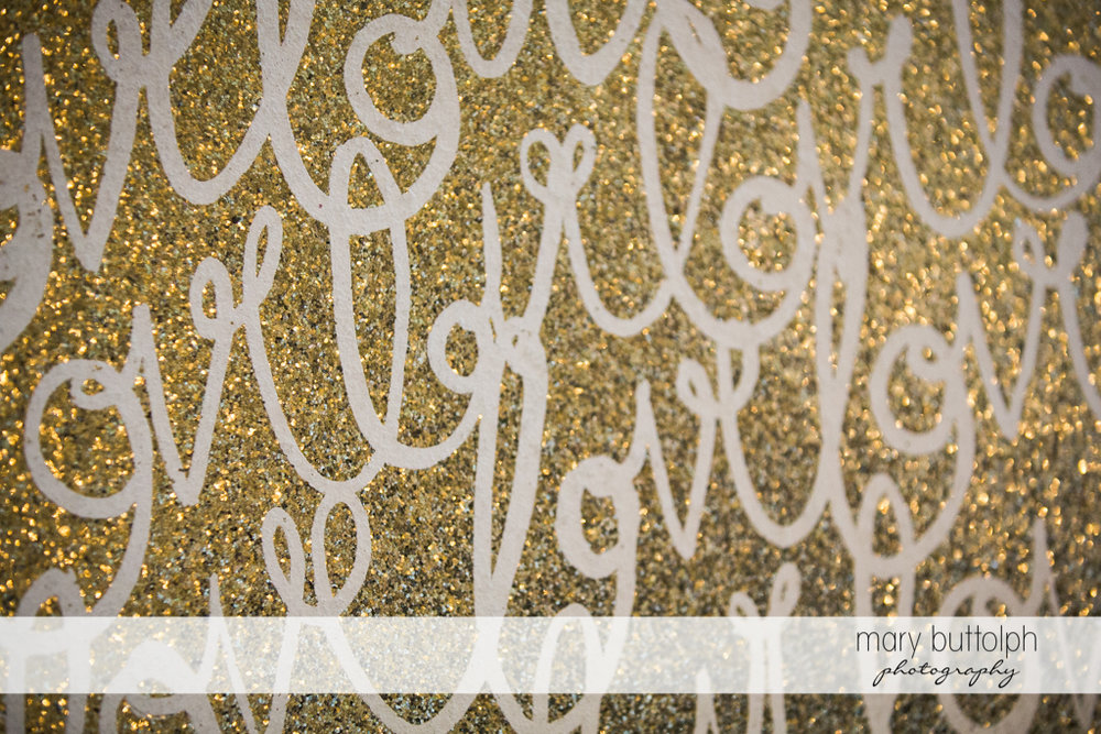 Love is written on the wall at Skaneateles Country Club Wedding