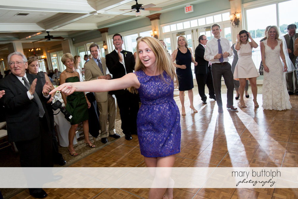 Guest shows her dance moves at Skaneateles Country Club Wedding