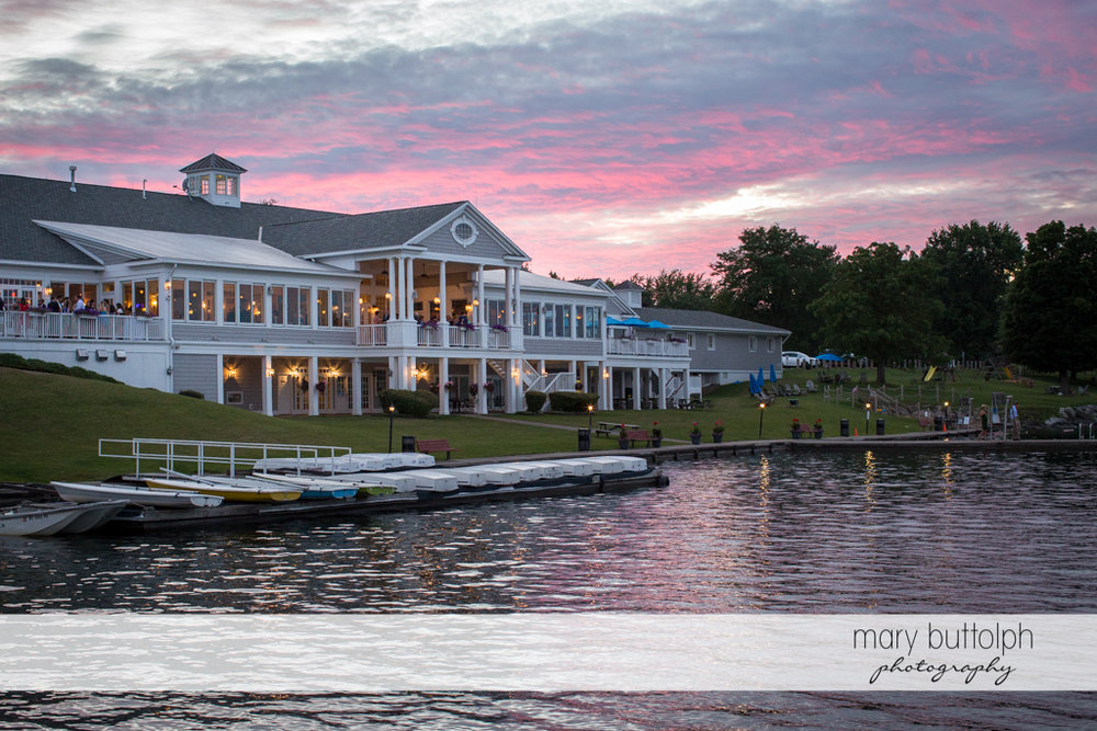 Long shot of the wedding venue by the lake at Skaneateles Country Club Wedding