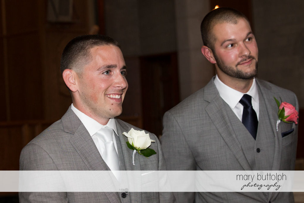 Groom and his best man wait for the bride at Turning Stone Resort Casino Wedding