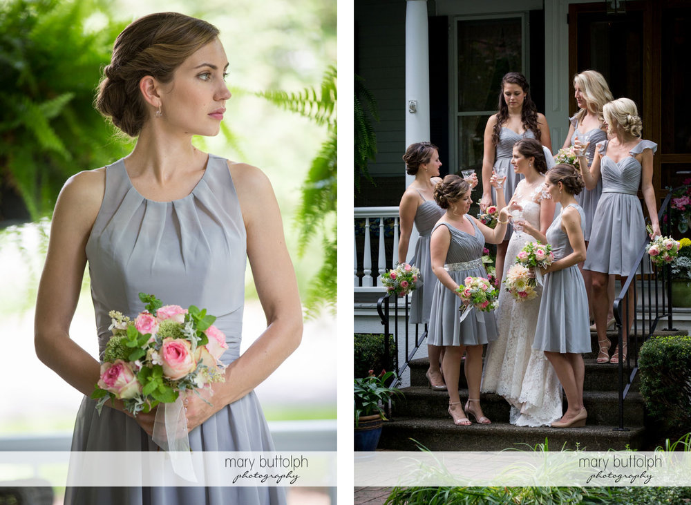 Solo shot of a bridesmaid and her companions with the bride at Skaneateles Country Club Wedding