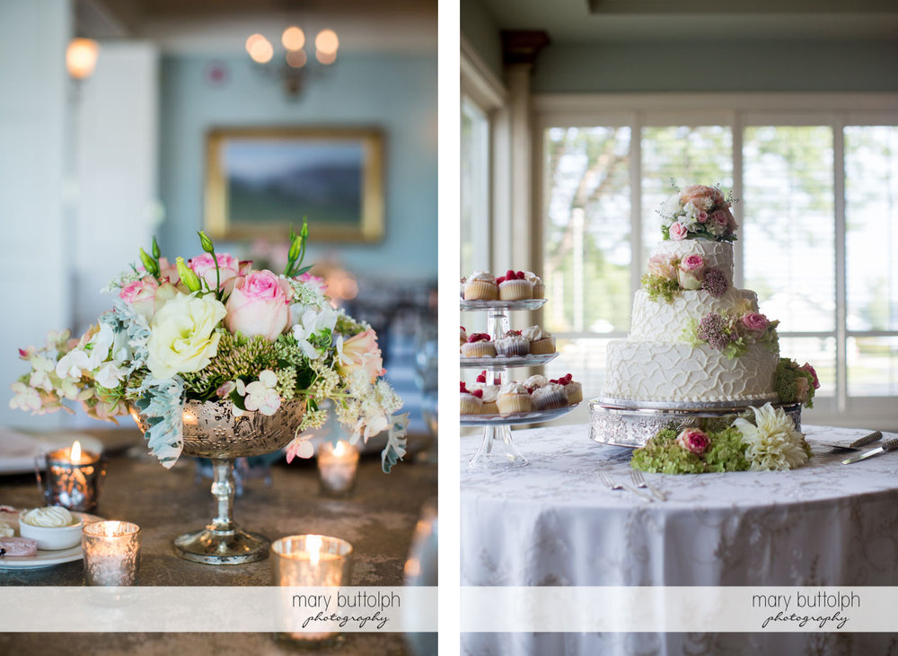 Flowers add a touch of class to the table and the wedding cake at Skaneateles Country Club Wedding
